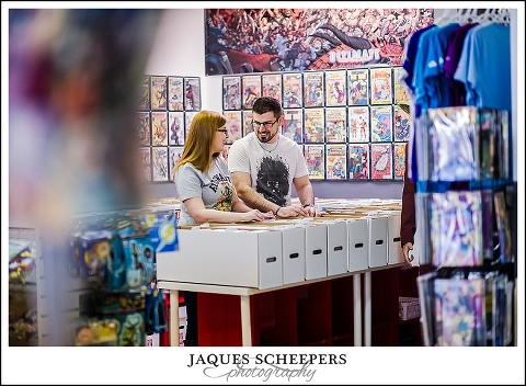 comic book store engagement photos